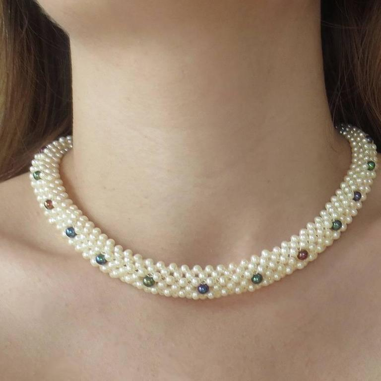 """Marina J. Woven Pearl, Black Pearl, Gold """"3d Rope"""" Necklace For Sale 3"""