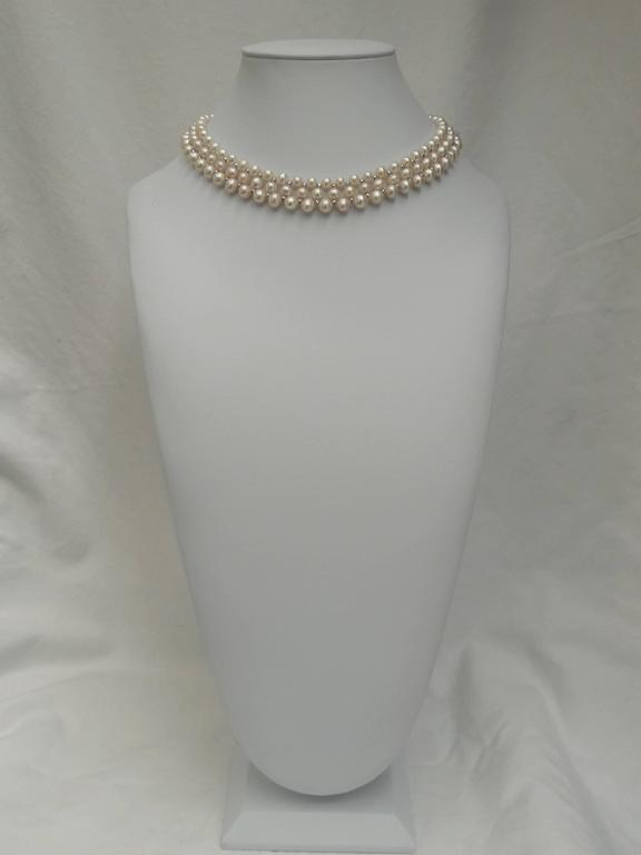 Woven Pearl Necklace with White Gold Faceted Beads and Flower Clasp 5
