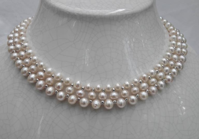 Woven Pearl Necklace with White Gold Faceted Beads and Flower Clasp 7
