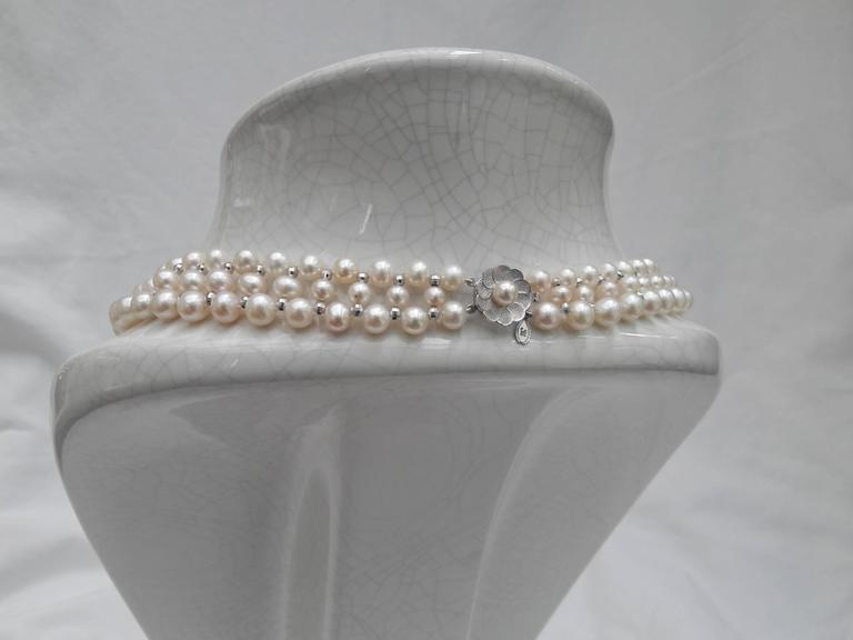 Woven Pearl Necklace with White Gold Faceted Beads and Flower Clasp 2
