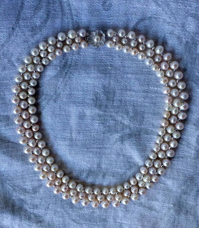 Woven Pearl Necklace with White Gold Faceted Beads and Flower Clasp 9