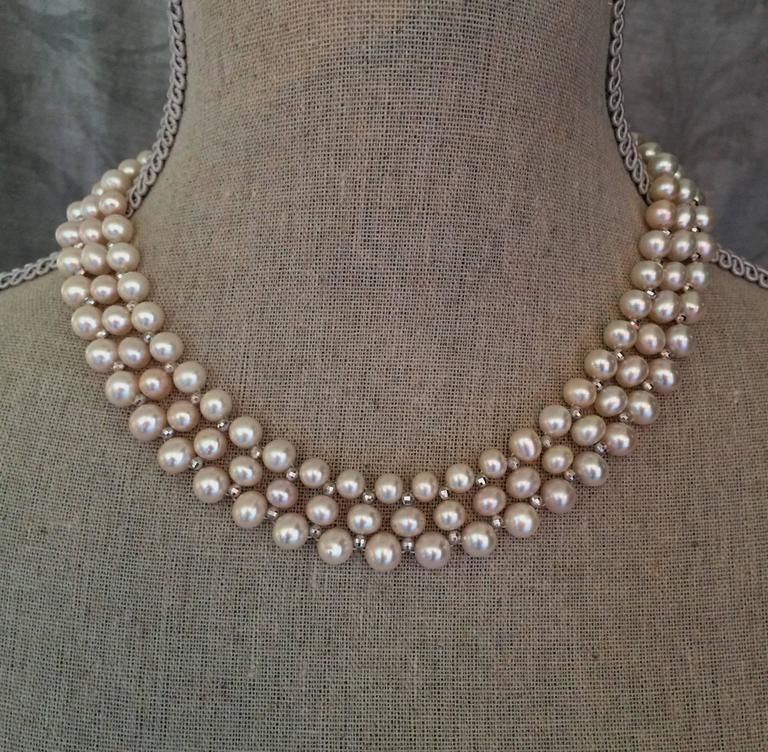 Woven Pearl Necklace with White Gold Faceted Beads and Flower Clasp 10