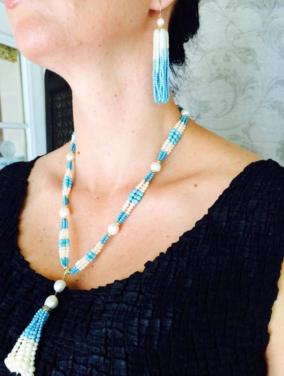 Woven Cluster Pearl and Turquoise Sautoir with Baroque Pearl Highlights 9