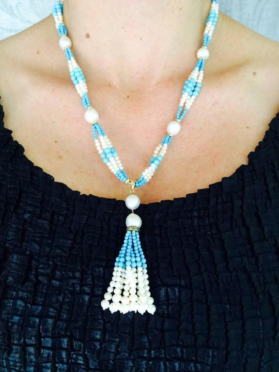 Woven Cluster Pearl and Turquoise Sautoir with Baroque Pearl Highlights 10