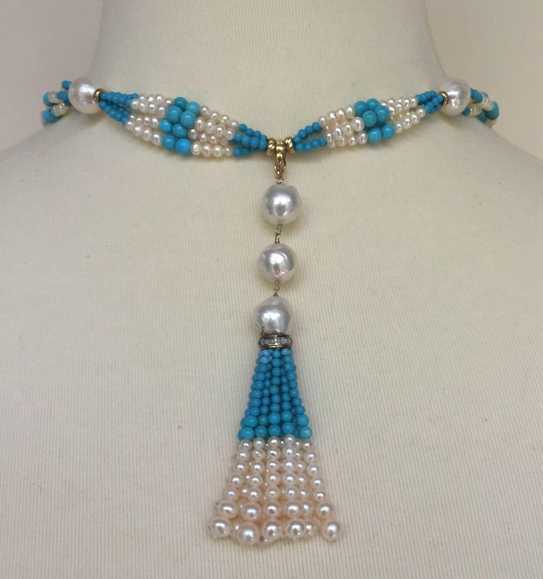 Woven Cluster Pearl and Turquoise Sautoir with Pearl and 14 k Yellow Gold  For Sale 1