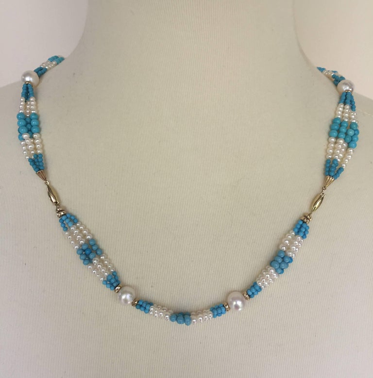 Woven Cluster Pearl and Turquoise Sautoir with Pearl and 14 k Yellow Gold  For Sale 2