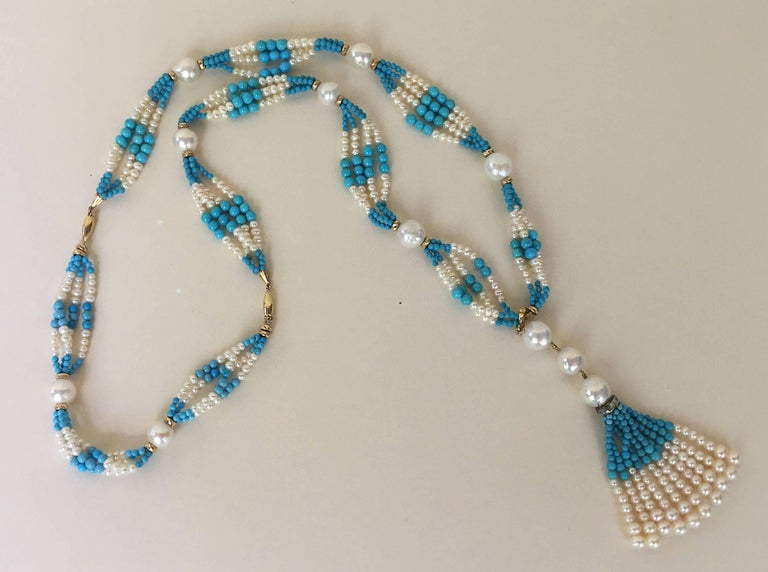 Woven Cluster Pearl and Turquoise Sautoir with Pearl and 14 k Yellow Gold  For Sale 4