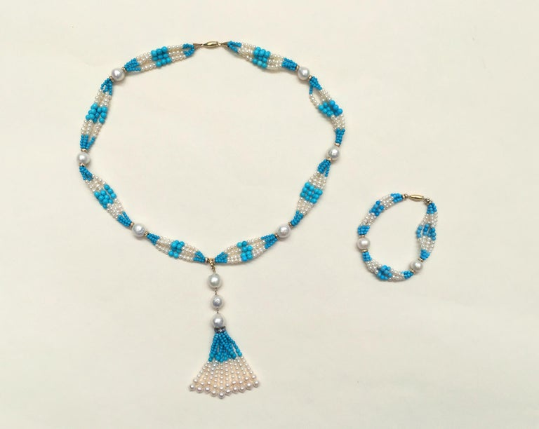 Woven Cluster Pearl and Turquoise Sautoir with Pearl and 14 k Yellow Gold  For Sale 5