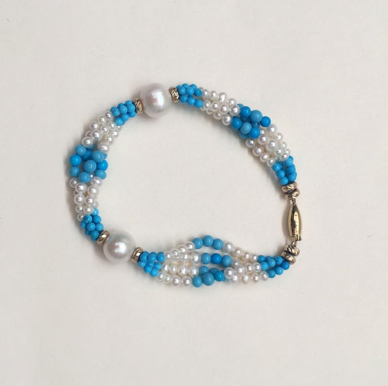 Woven Cluster Pearl and Turquoise Sautoir with Pearl and 14 k Yellow Gold  For Sale 7