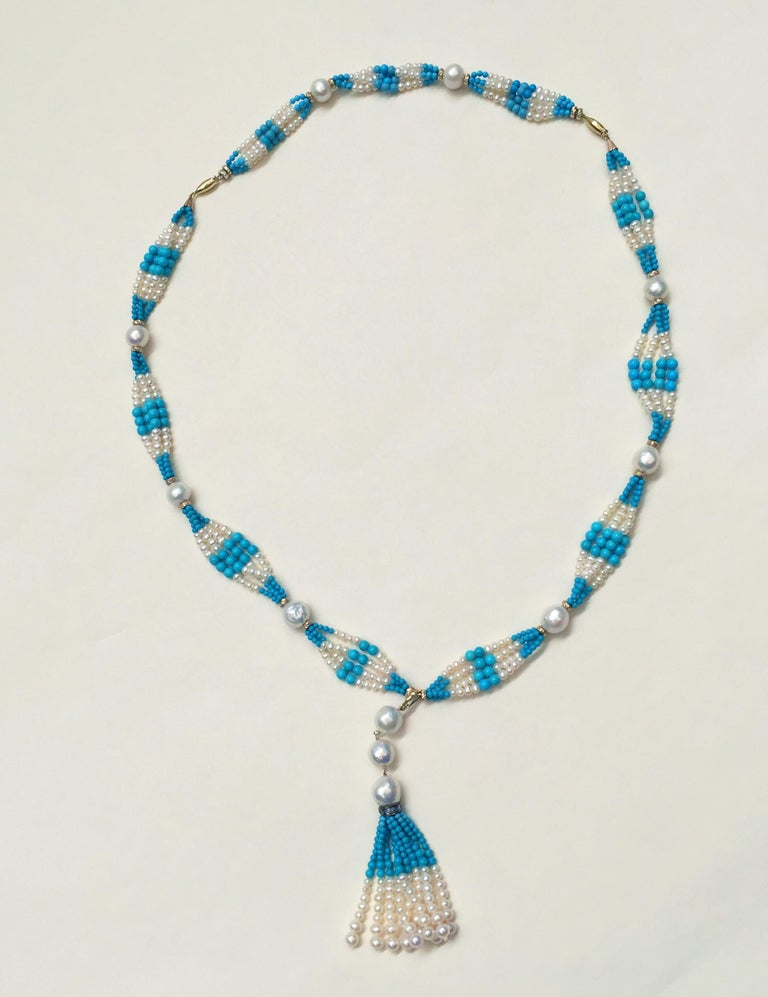 Woven Cluster Pearl and Turquoise Sautoir with Pearl and 14 k Yellow Gold  For Sale 8