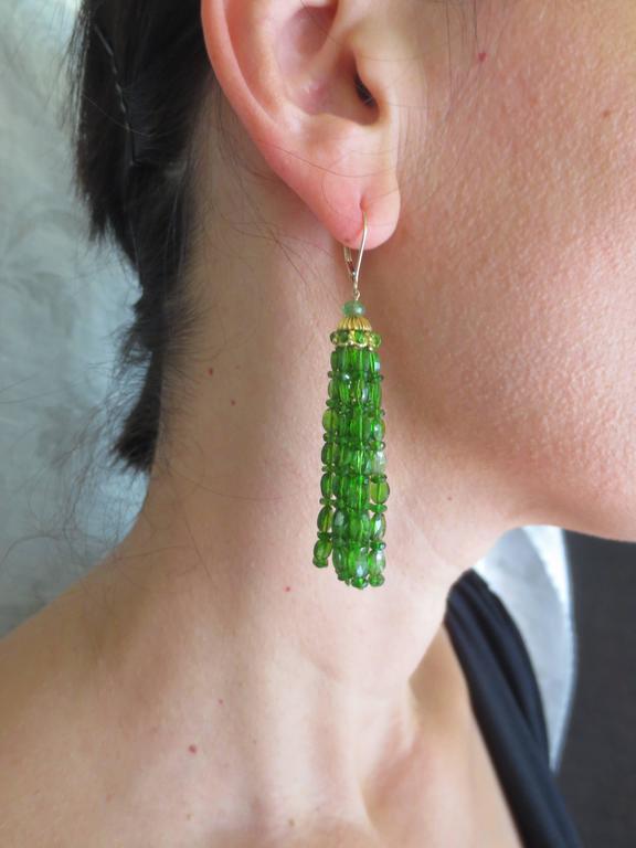 Marina J. Tsavorite Gold Tassel Earrings 5