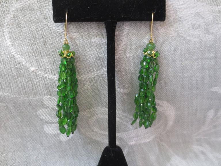 Marina J. Tsavorite Gold Tassel Earrings 7