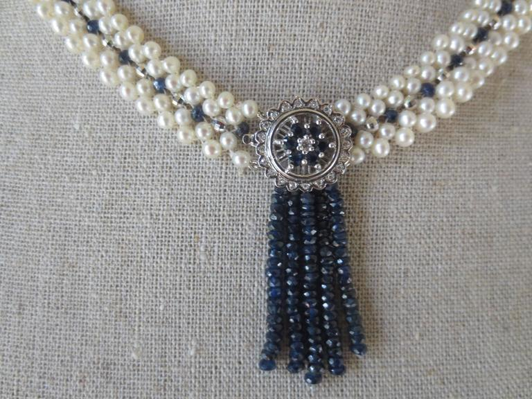 Marina J Cultured White Pearl Sapphire Gold Bead Drop Necklace 6