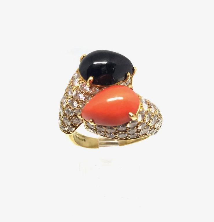 Cartier Diamond Coral and Onyx Gold Crossover Ring  For Sale 1
