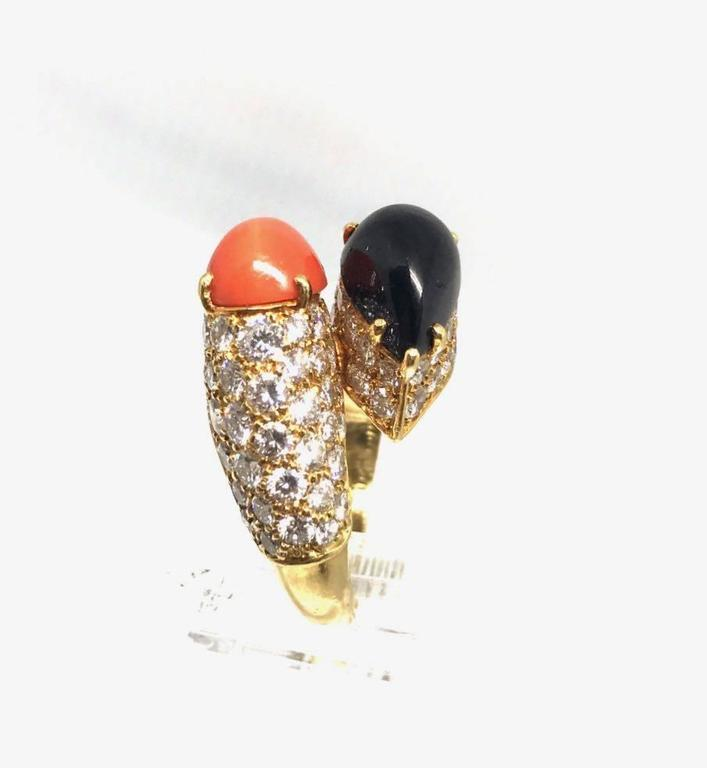 Women's Cartier Diamond Coral and Onyx Gold Crossover Ring  For Sale