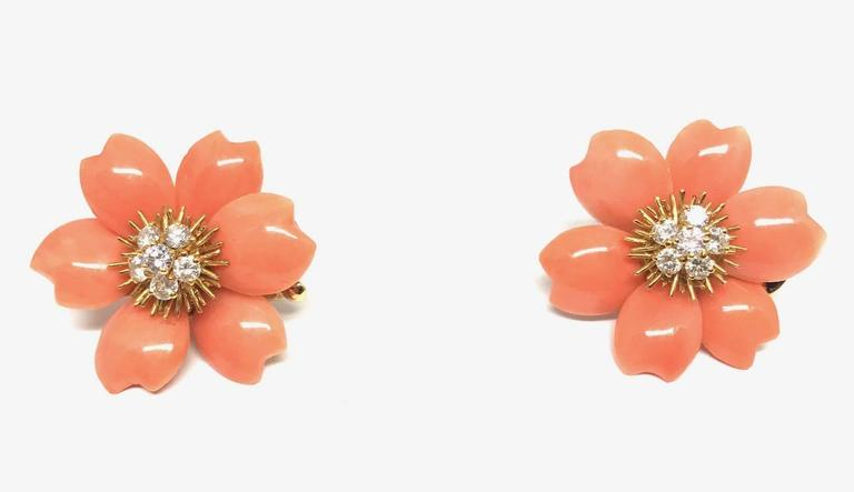 Women's Van Cleef & Arpels Rose De Noel  Coral Brooch Earclips Set For Sale