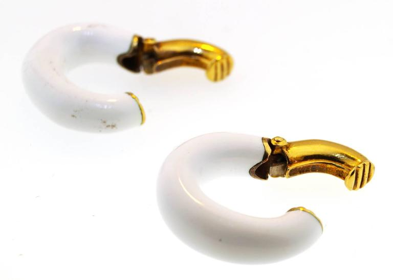 David Webb Enamel Gold Earrings 2