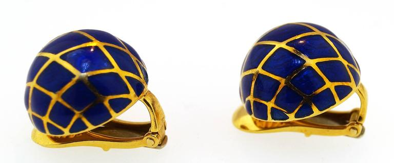 David Webb Blue Enamel Gold Dome earrings 2