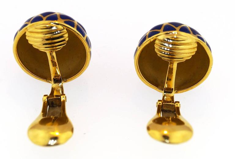 David Webb Blue Enamel Gold Dome earrings 3