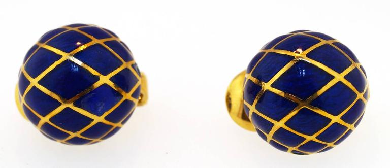 David Webb Blue Enamel Gold Dome earrings 4