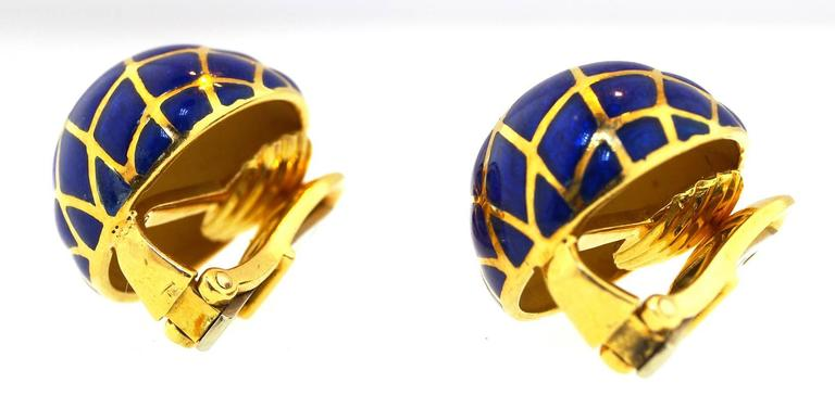 David Webb Blue Enamel Gold Dome earrings 5
