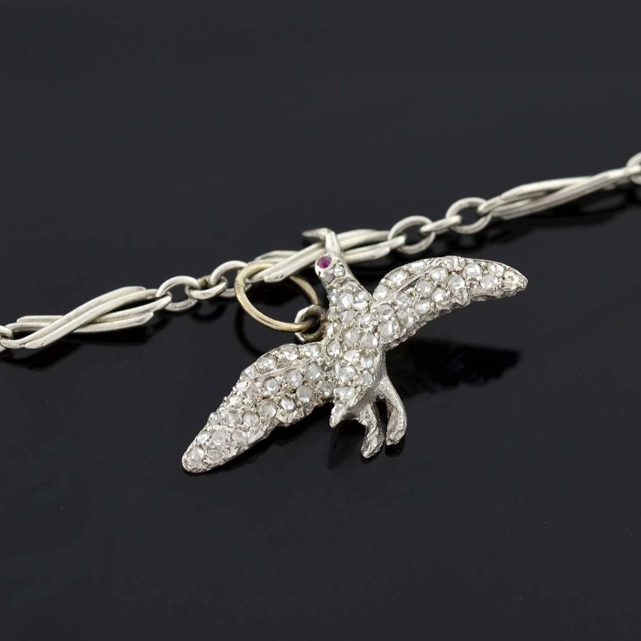 Art Deco Emerald Diamond Platinum Multi Charm Bracelet For Sale 2