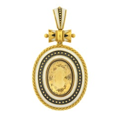 Victorian Enameled Citrine Locket Pendant