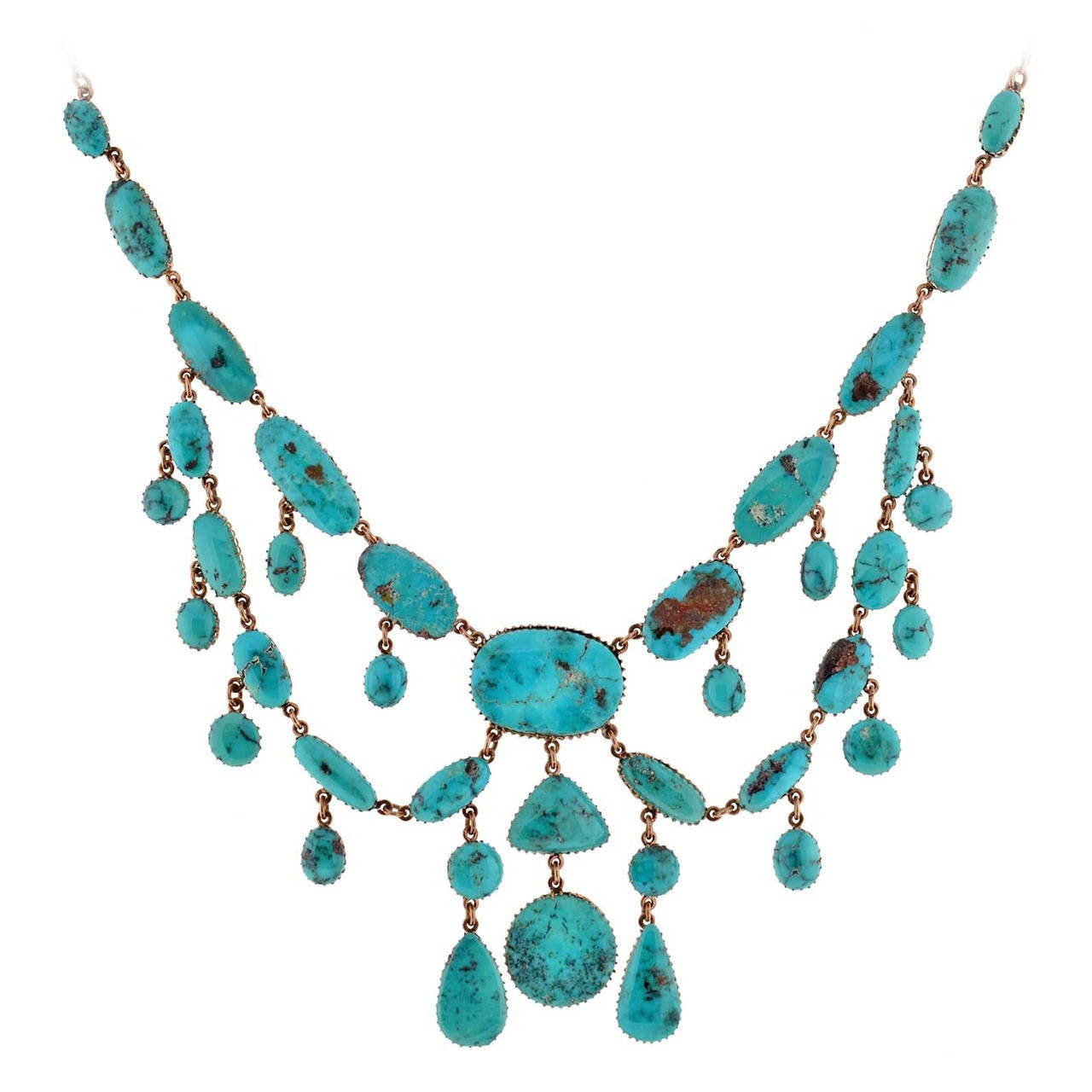 turquoise festoon necklace at 1stdibs
