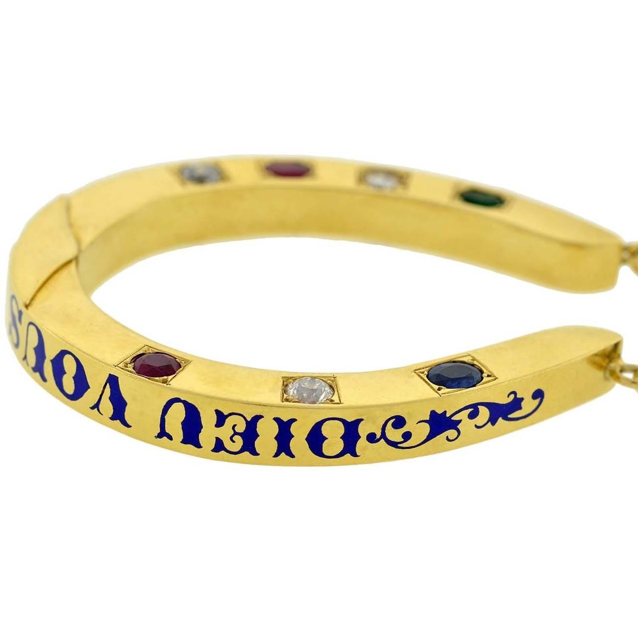 Dieu Vous Garde Gemstone Gold Horseshoe Bracelet 3