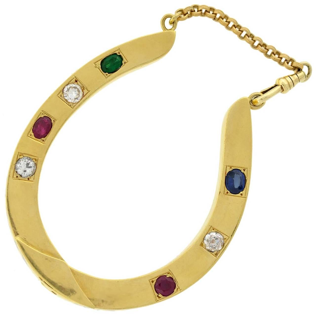 Dieu Vous Garde Gemstone Gold Horseshoe Bracelet 2