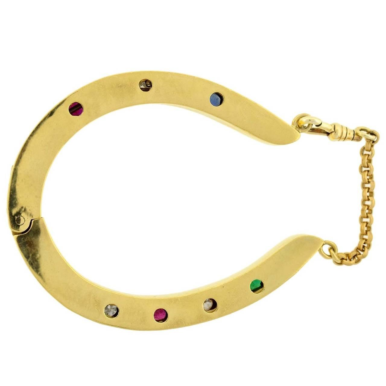 Dieu Vous Garde Gemstone Gold Horseshoe Bracelet 6