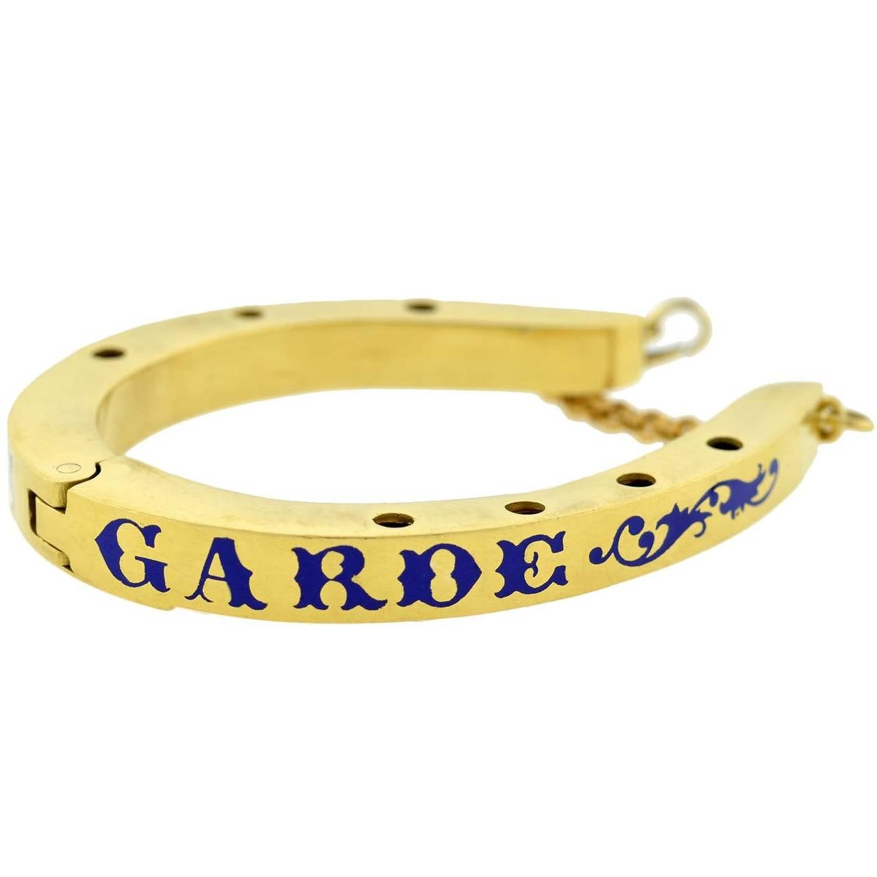 Dieu Vous Garde Gemstone Gold Horseshoe Bracelet 4