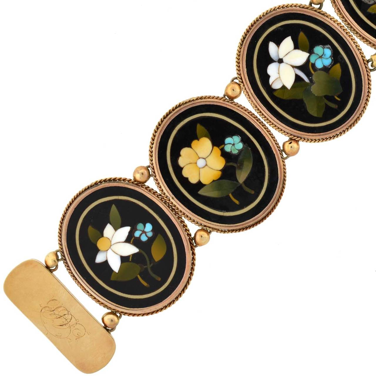 Victorian Important Pietra Dura Gold Link Bracelet In Excellent Condition For Sale In Narberth, PA