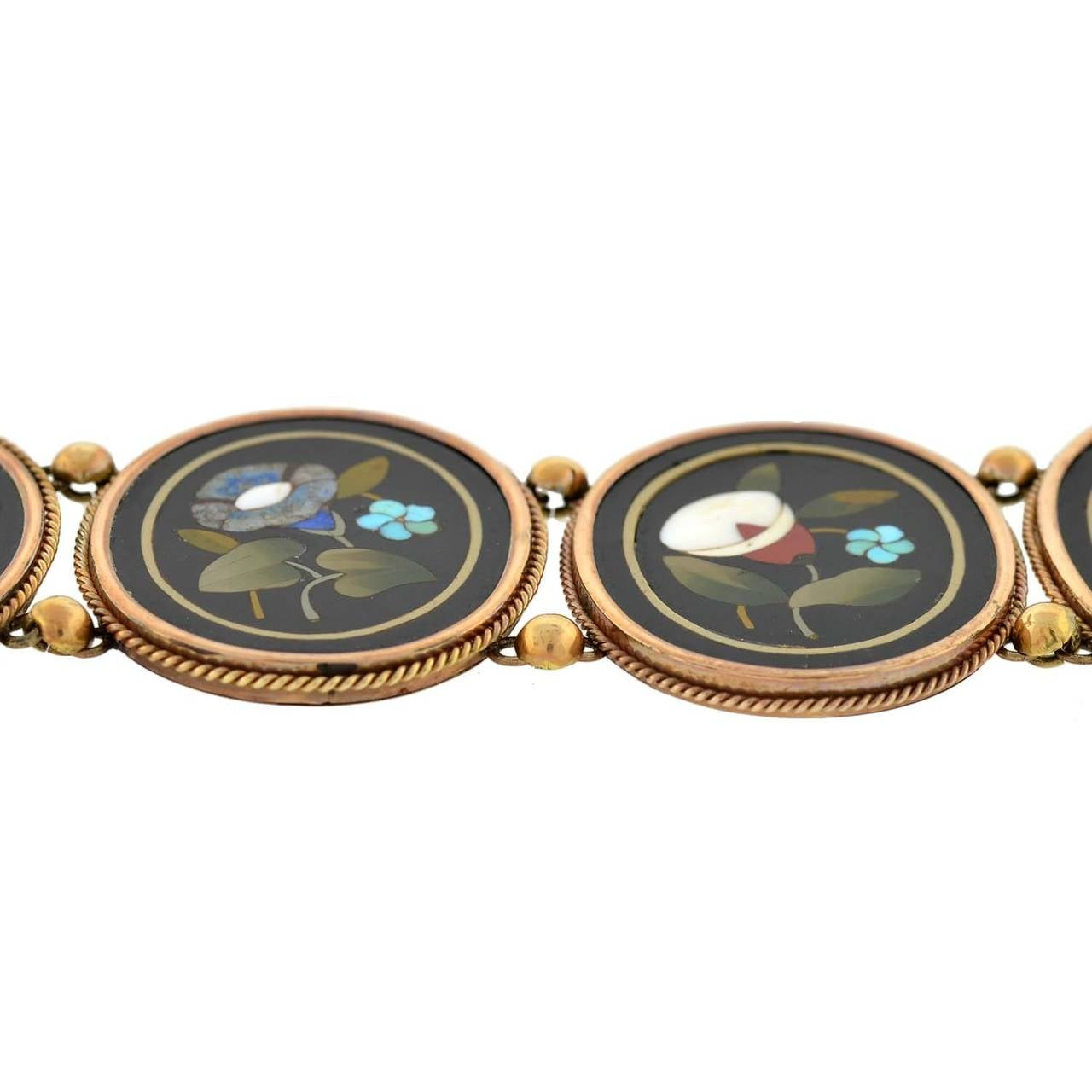 Victorian Important Pietra Dura Gold Link Bracelet For Sale 1