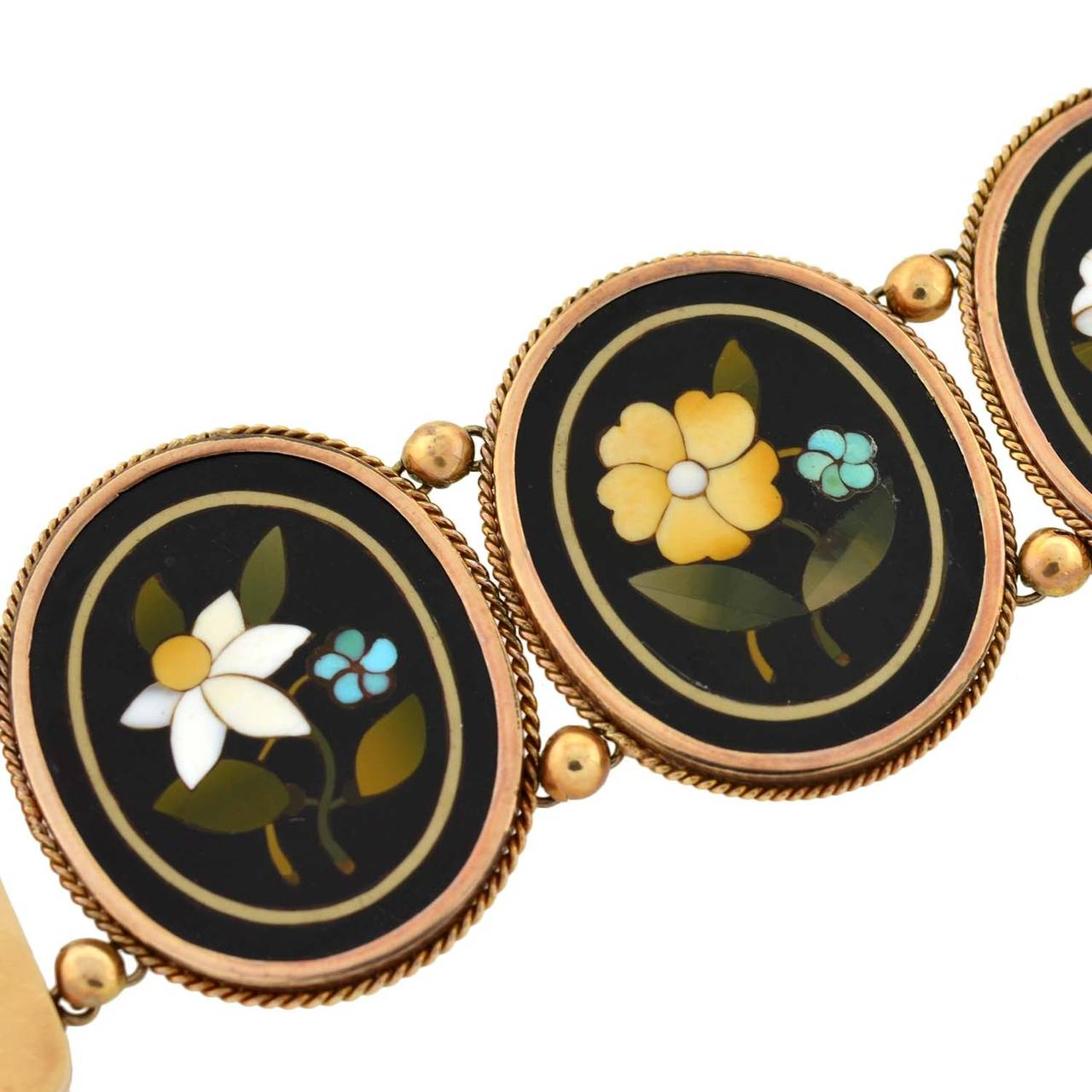 Victorian Important Pietra Dura Gold Link Bracelet For Sale 2