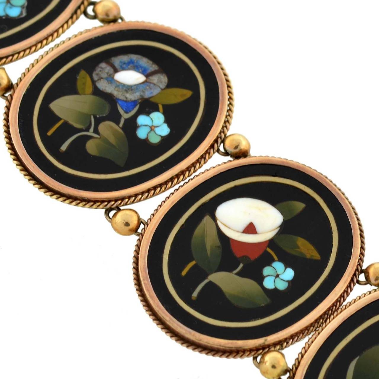 Women's Victorian Important Pietra Dura Gold Link Bracelet For Sale
