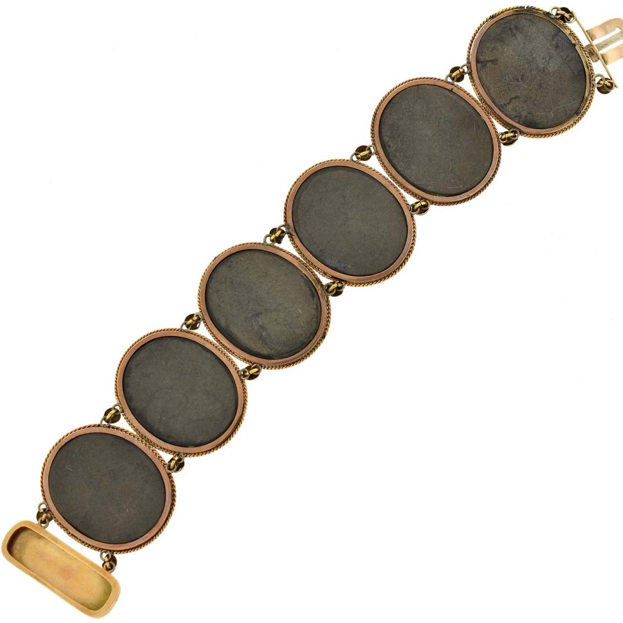 Victorian Important Pietra Dura Gold Link Bracelet For Sale 3
