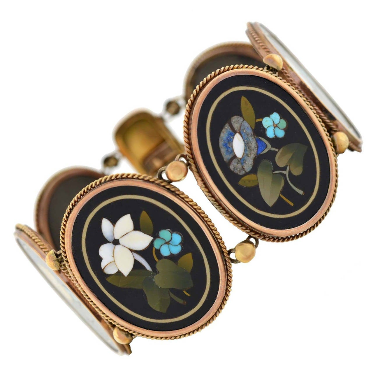 Victorian Important Pietra Dura Gold Link Bracelet For Sale
