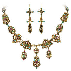 Early Victorian Swiss Enamel Gemstone Gold Earring and Necklace Set