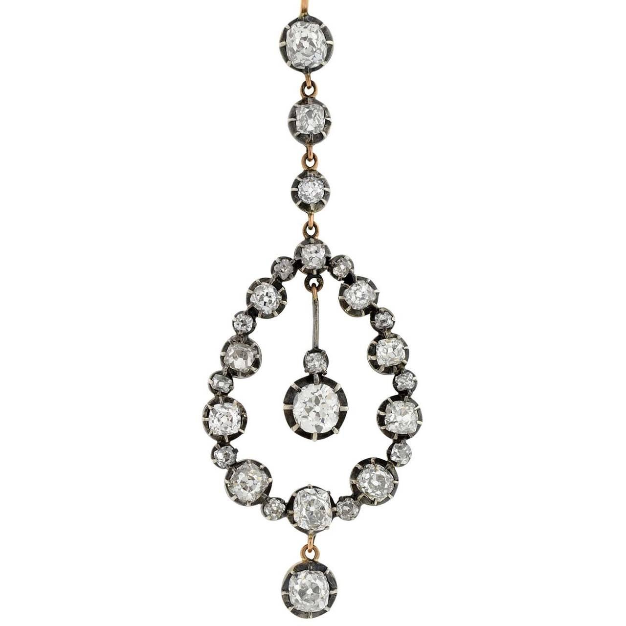 Victorian Dramatic Diamond Teardrop Earrings 726ctw 2