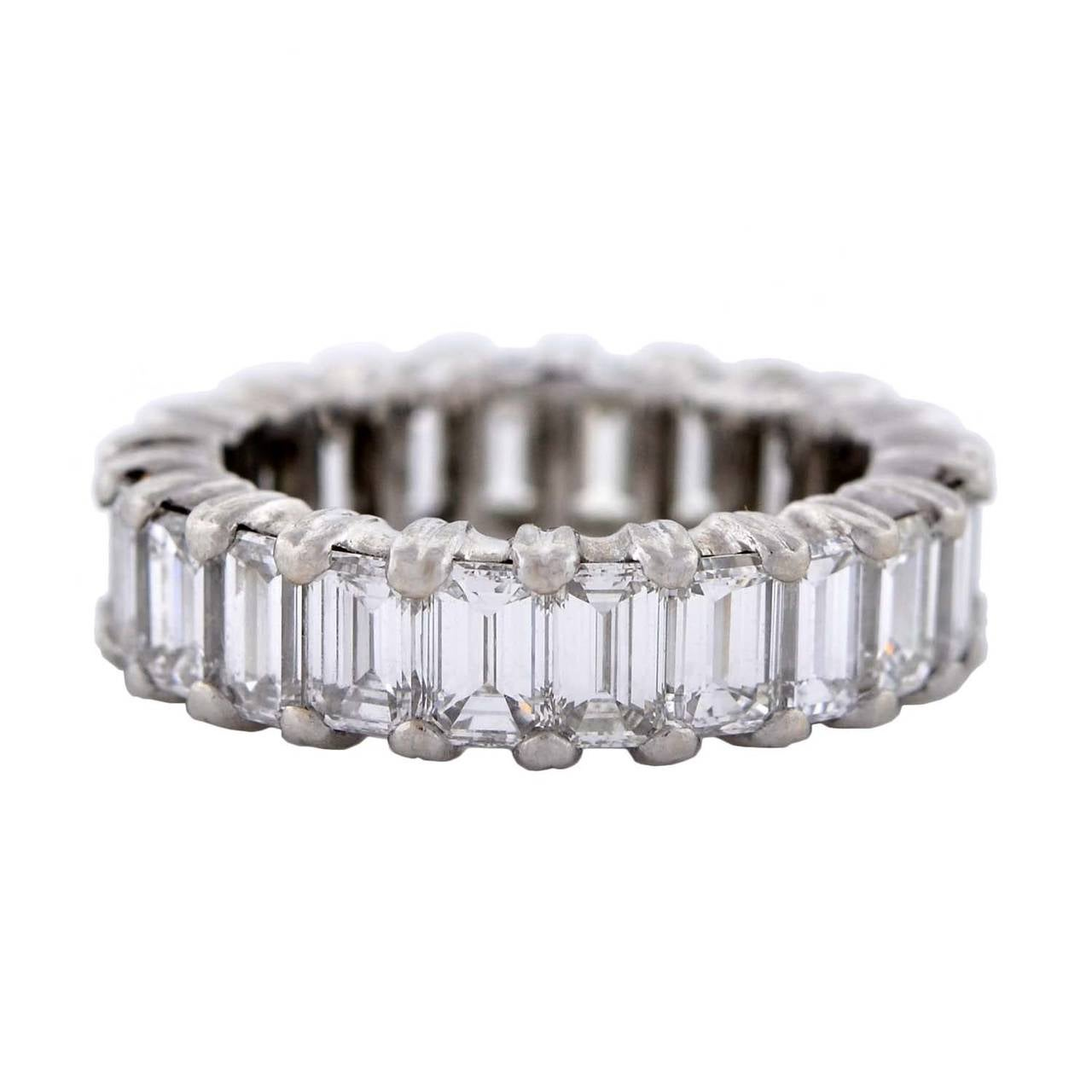 Contemporary Emerald Cut Diamond Platinum Eternity Band 6ctw 2