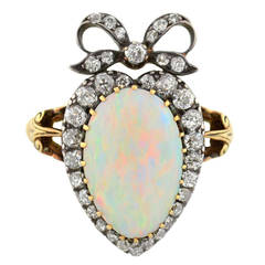 Victorian Opal Diamond Gold Crown and Heart Motif Ring