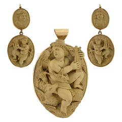 Important Victorian Carved Lava Cameo Earrings Pendant Set