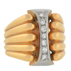 Two Tone Wide Diamond Gold Band