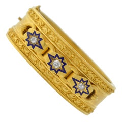 Victorian Etruscan 0.85 Total Carat Diamond Starburst and Enamel Bracelet