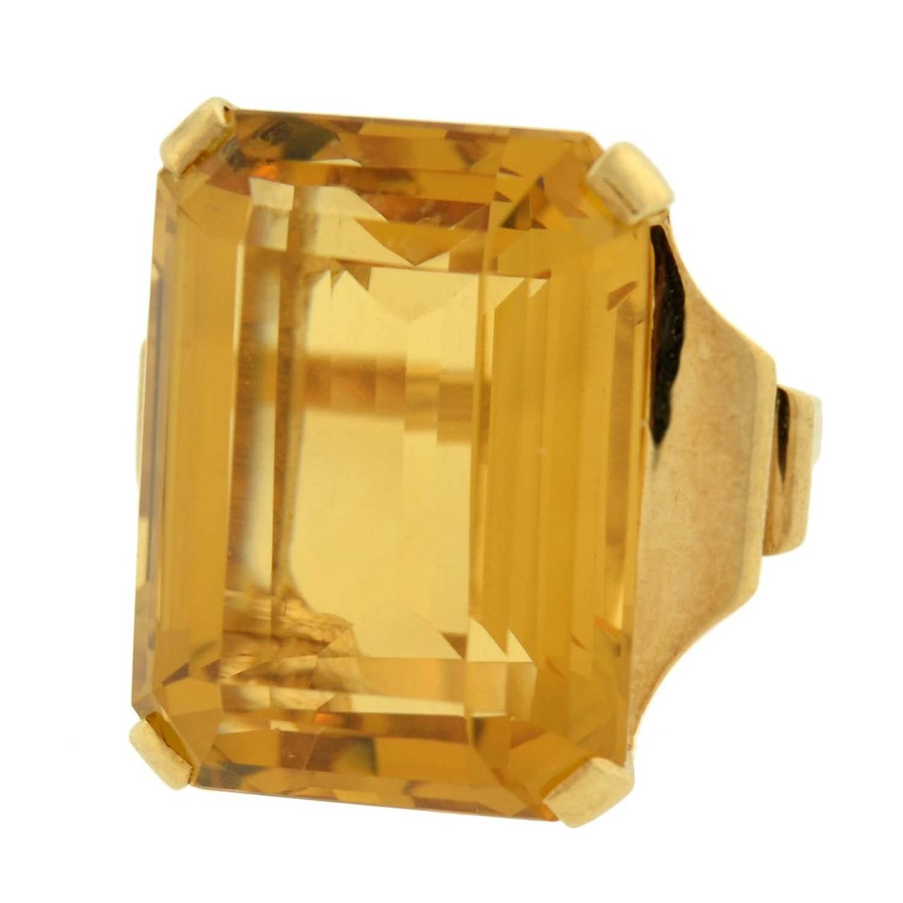 Retro Citrine Gold Cocktail RIng 30ct In Excellent Condition For Sale In Narberth, PA