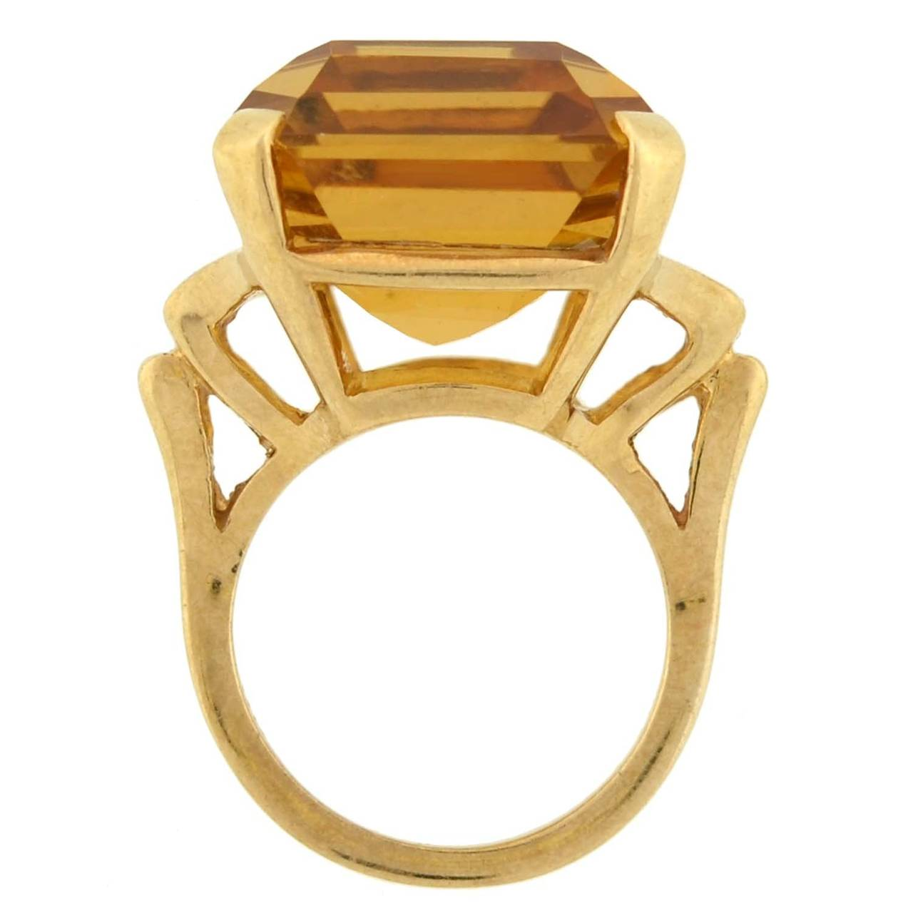 Retro Citrine Gold Cocktail RIng 30ct 4