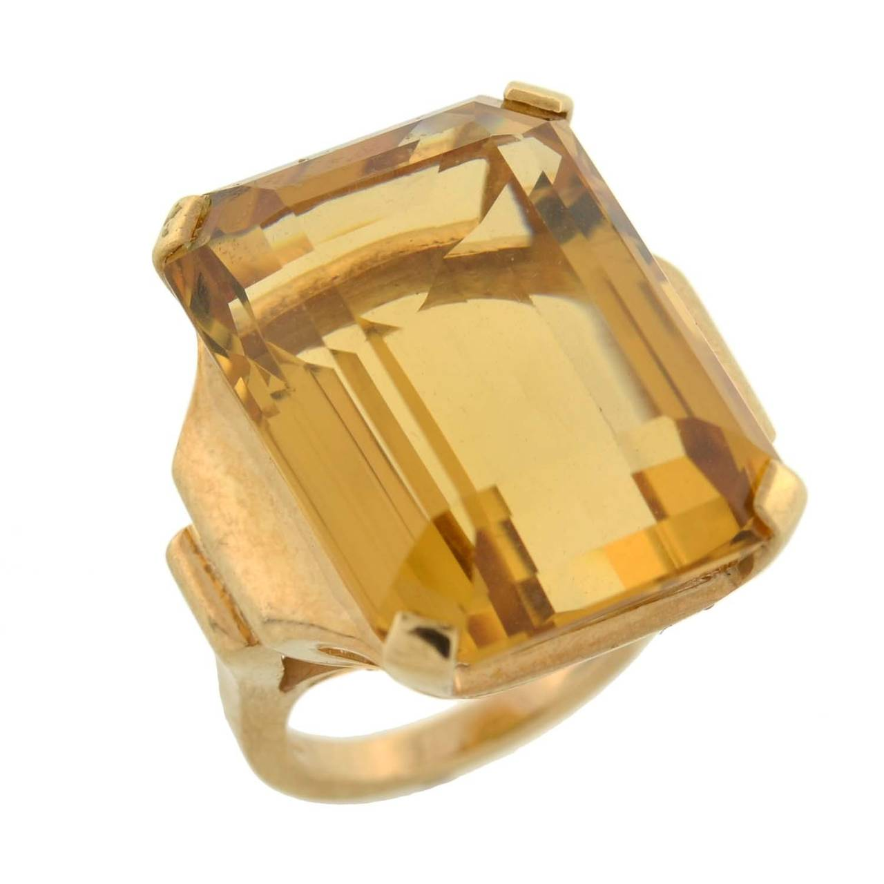 Retro Citrine Gold Cocktail RIng 30ct For Sale 1