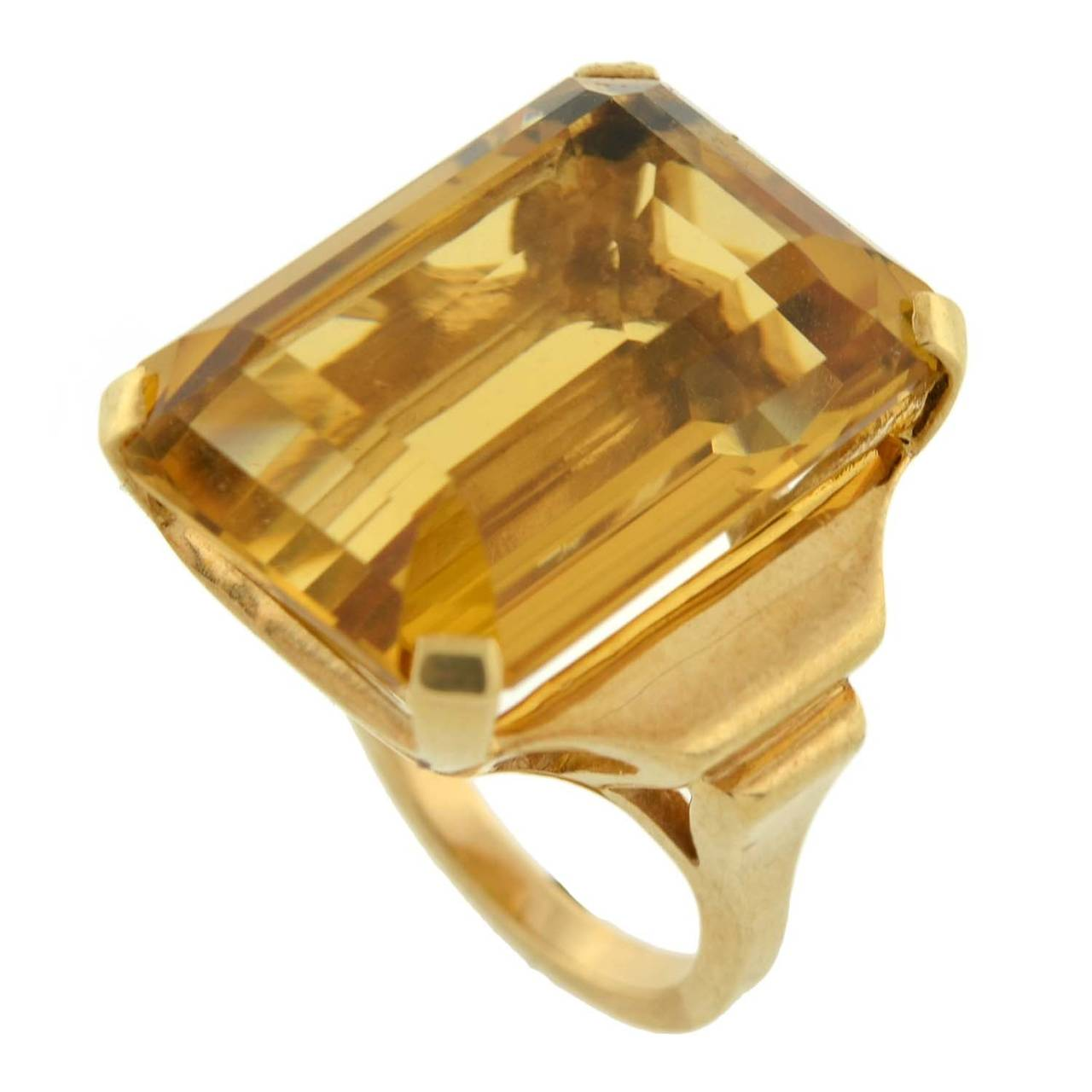 Retro Citrine Gold Cocktail RIng 30ct For Sale 2