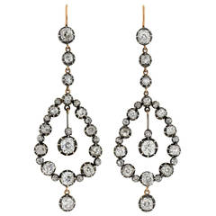 Victorian Dramatic Diamond Teardrop Earrings 7.26ctw